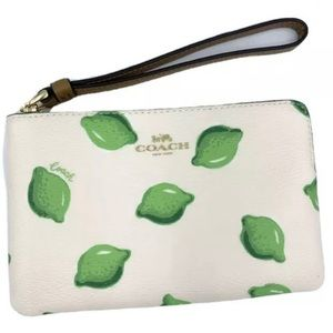 COACH authentic leather small wristlet lime print
